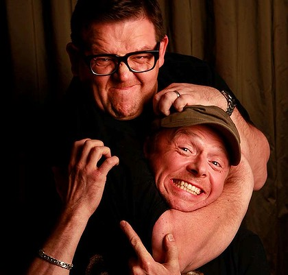 Nick Frost putting Simon Pegg into a Headlock